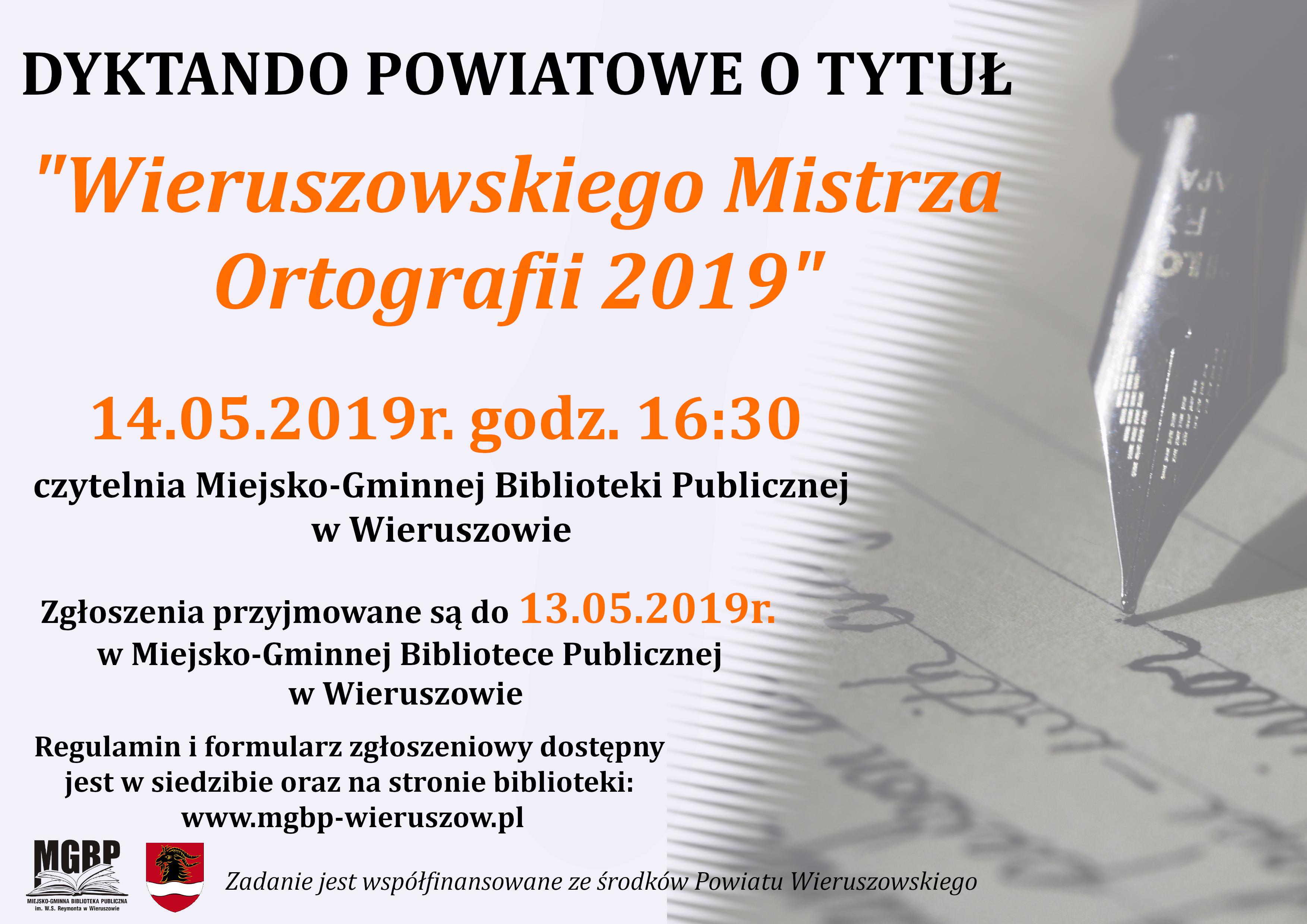 """Zapisy ruszyły – Dyktando Powiatowe otytuł """"Wieruszowskiego Mistrza Ortografii 2019"""""""