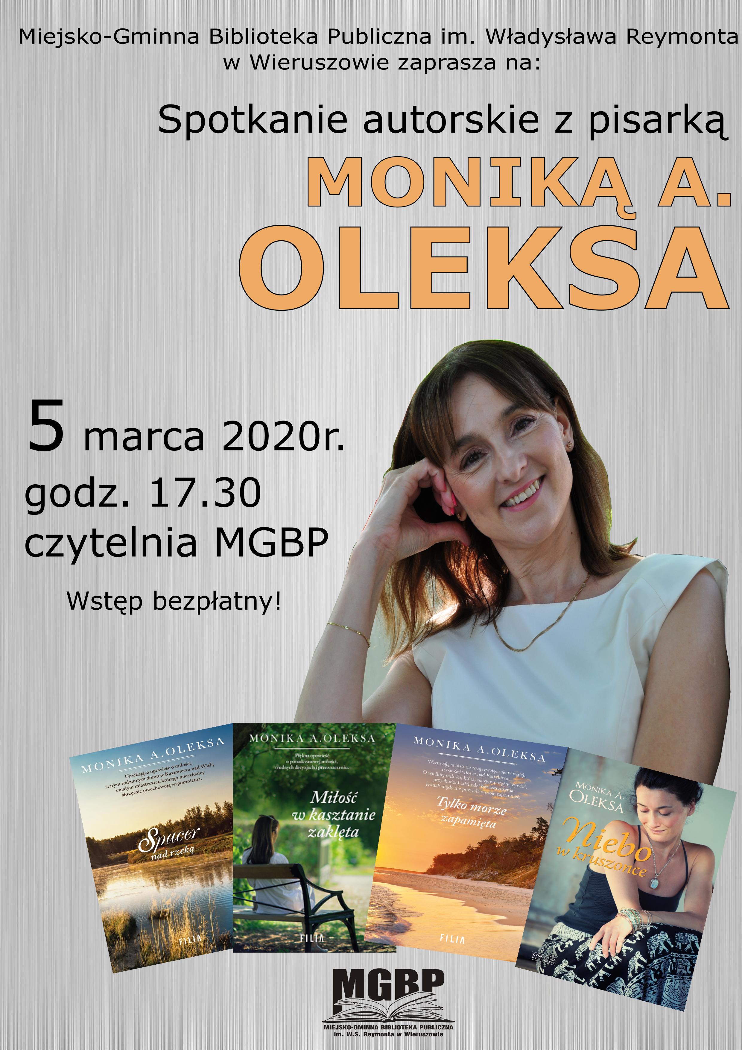 Spotkanie autorskie zMoniką A. Oleksa – zapraszamy!