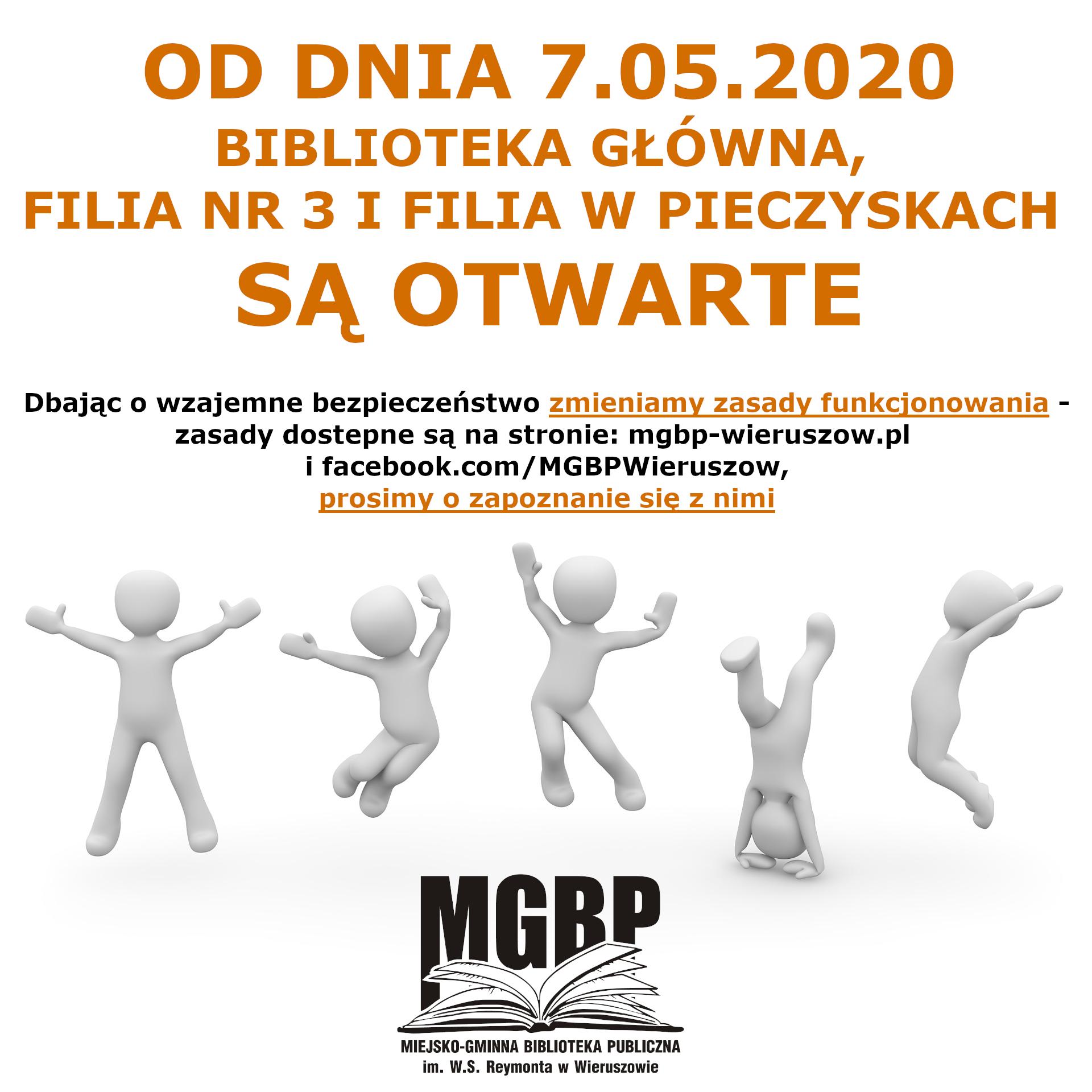 BIBLIOTEKA OTWARTA OD 7.05.2020