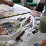 plener malarski stanowisko do malowania i obraz